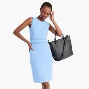 J Crew sleeveless sheath dress in tweed blue